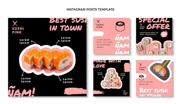 Посты в социальных сетях о суши-ресторане