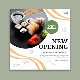 Sushi restaurant square flyer template
