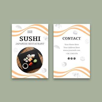 Sushi restaurant vertical business card template
