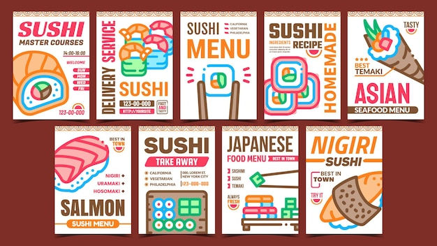 Sushi roll food promotional posters set