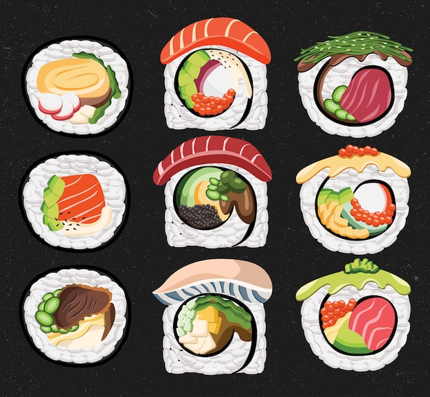 Sushi roll japan food salmon tuna seaweed tofu saba fish cucumber meal dish lunch culture eat