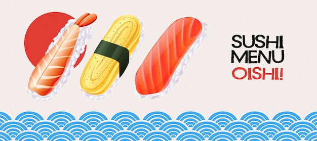 Sushi roll on japanese style background