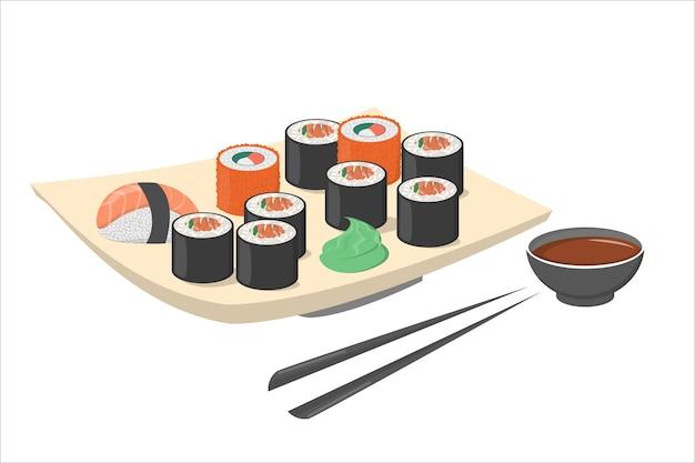 와사비와 검은 젓가락으로 접시에 스시 롤. 연어와 신선한 일본 또는 중국 음식. 접시에 해산물. 삽화