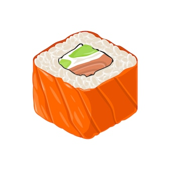 Суши-ролл филадельфия с рыбой, сливочным сыром, авокадо. изолированные на белом фоне. плоская цветная иллюстрация.