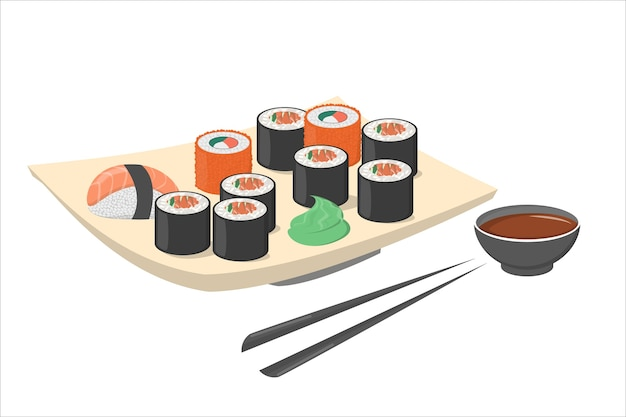 Sushi roll on the plate with wasabi and black chopstick. fresh japan or chinese food with salmon. seafood on the plate.    illustration