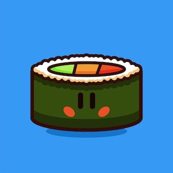 Суши-ролл с лососем и овощами мультяшный векторная иллюстрация