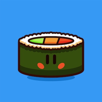 Sushi roll salmon and vegetable cartoon vector illustration
