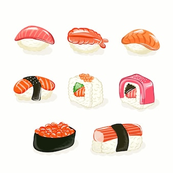 Sushi roll set. sushi rolls flat food and japanese seafood sushi rolls. asia cuisine restaurant delicious