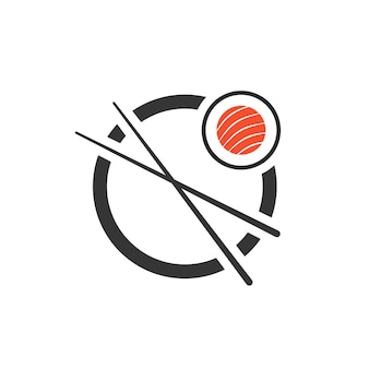 箸のアイコンが付いた巻き寿司。会社のエンブレム、刺身、マキ、ビジュアルアイデンティティ、ミニマルマークのコンセプト。白い背景で隔離。フラットスタイルトレンドモダンなブランドデザインベクトルイラスト