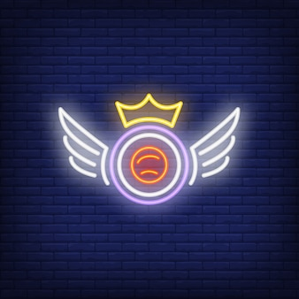 Sushi roll with crown and wings neon sign