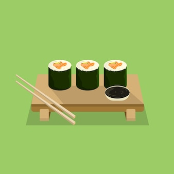 Sushi roll with flat design