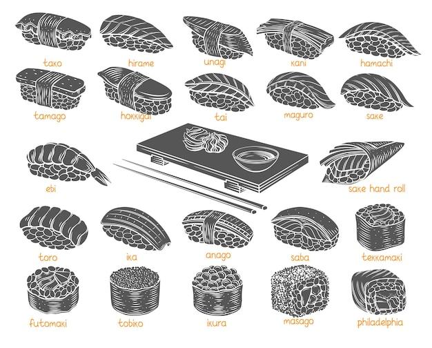 Набор символов суши роллов. монохромные изолированные японские блюда для суши-роллов