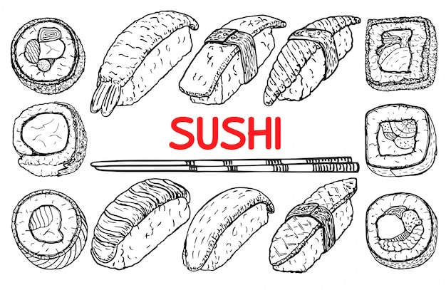 Sushi and rolls, hand drawing fresh fish and rice with sticks.