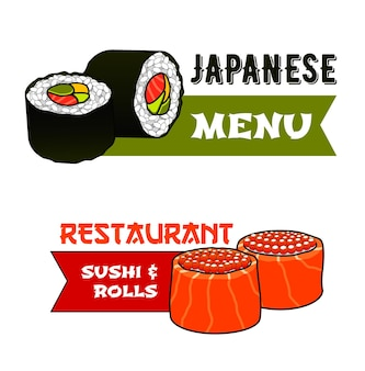 Sushi and rolls icons, japanese cuisine food