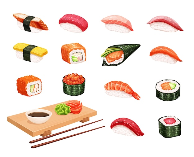 Sushi and rolls. japanese food illustration for seafood shop