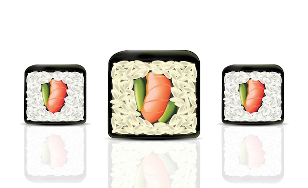 Sushi rolls realistic vector. japanese cuisine isolated on white vector illustration. traditional food icon