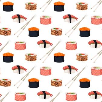 Sushi rolls sashimi seafood fish rice seamless pattern