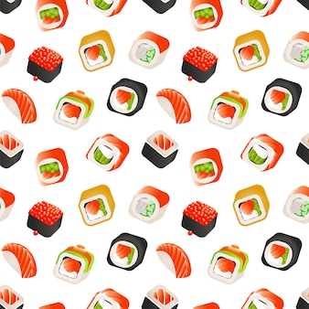 Sushi and rolls seamless pattern, japanese food  illustration.