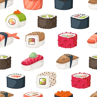 Sushi and rolls seamless pattern.