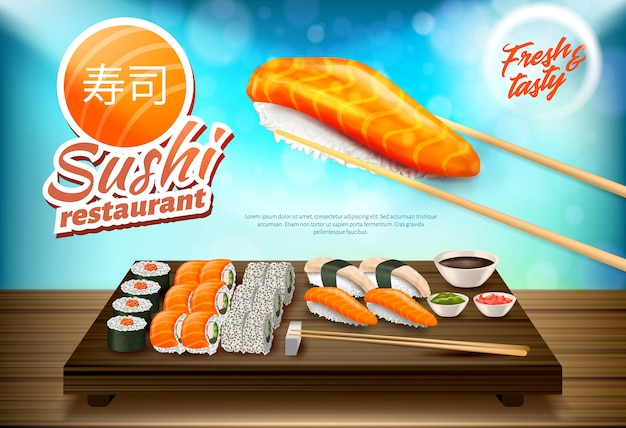 Sushi and rolls set, traditional cuisine of japan