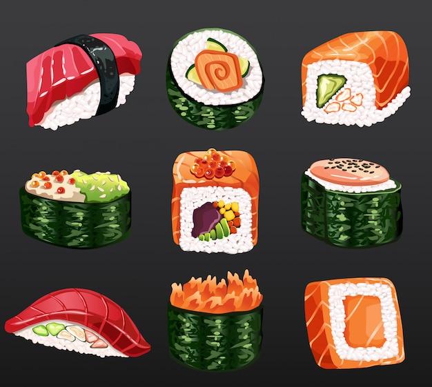 Суши роллы традиционные водоросли свежие сырые продукты. японские морепродукты суши роллы. девять разных видов суши. классическая азиатская еда. суши ролл с лососем, копченым угрем
