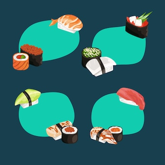 Sushi and rolls types stickers set