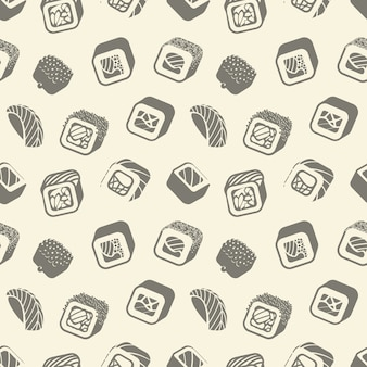Sushi and rolls vintage seamless pattern