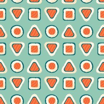 연어 생선 밥과 김이 든 스시 롤 아시아 음식 배달 원활한 패턴 질감