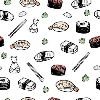 Sushi seamless pattern background