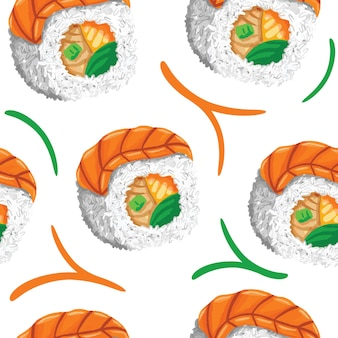Sushi seamless pattern in flat design style