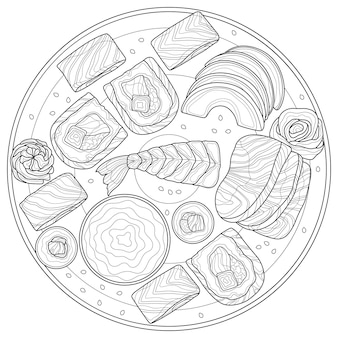 Sushi set.food.coloring book antistress adults. illustration isolated on white background.black and white drawing