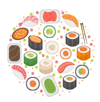Sushi set icons, in round shape, flat style. japanese cuisine isolated on white background. illustration, clip art.