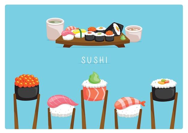 Sushi set layout   with miso soup and ocha tea Premium Vector