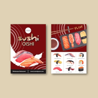 Sushi set menu for restaurant.