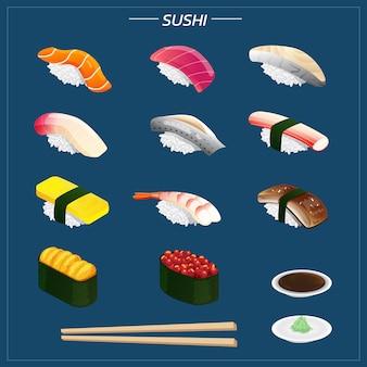 わさび醤油分離イラストとさまざまな種類の箸の寿司セット。他のカテゴリのネイビーブルーの背景に等尺性の寿司。