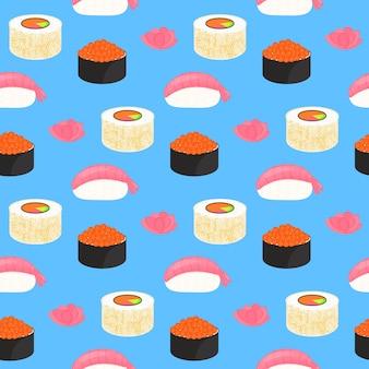 寿司セット。赤魚のキャビア、エビの握り巻き。伝統的な日本食。シームレスパターン。