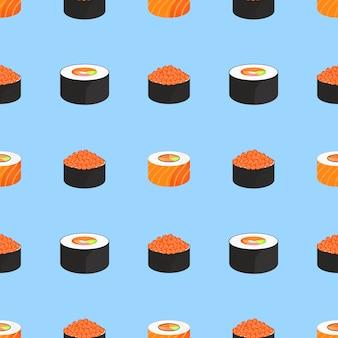 寿司セット。赤い魚のキャビアとサーモンのロールパン。伝統的な日本食。シームレスパターン。