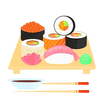Sushi set. rolls with caviar of red fish, with salmon, nigiri with shrimp. traditional japanese food. soy sauce, ginger, wasabi, chopsticks, plate.