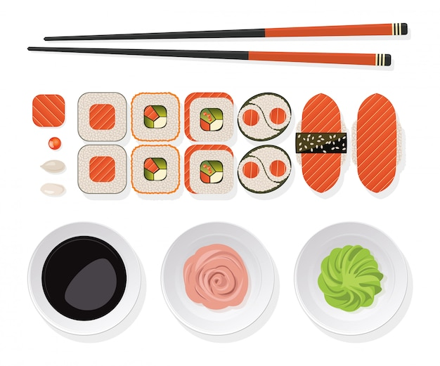 Sushi set. rolls with salmon, chopsticks and  wasabi, ginger, soy sauce on a white plate.