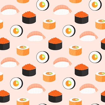 Sushi set, rolls with salmon, nigiri with shrimp, maki. traditional japanese food seamless pattern.