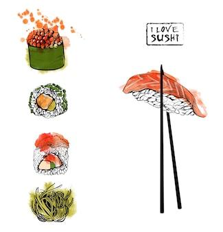 Набор суши. эскиз и акварель