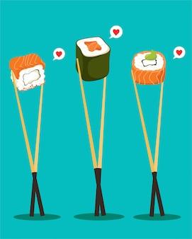 Sushi set with chopsticks. japanese food.  isolates