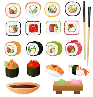 Sushi set with soy sauce and chopsticks.