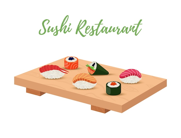 Sushi set on wooden tray for japanese restaurant