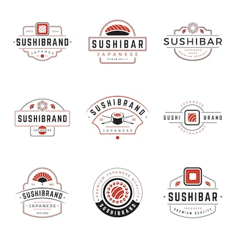 Sushi shop japanese food logos design set