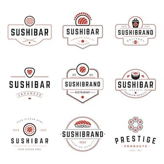 Sushi shop labels and badges design templates set
