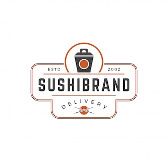 Sushi shop logo template japanese noodle box silhouette with retro typography vector illustration