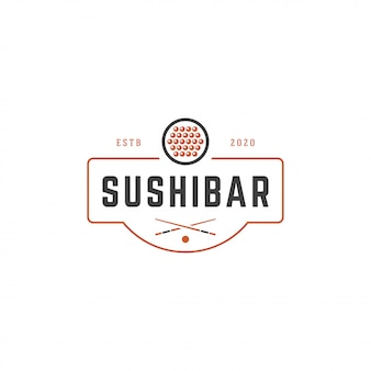 Sushi shop logo template salmon roll silhouette with retro typography vector illustration