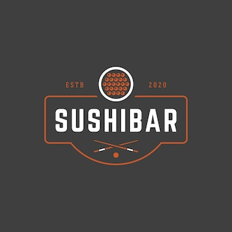 Sushi shop logo template salmon roll silhouette with retro typography