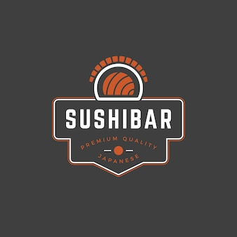Sushi shop logo template salmon roll silhouette with retro typography Premium Vector